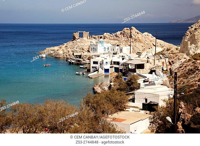 View to the the beach of the Fyropotamos-Firopotamos village, Milos, Cyclades Islands, Greek Islands, Greece, Europe