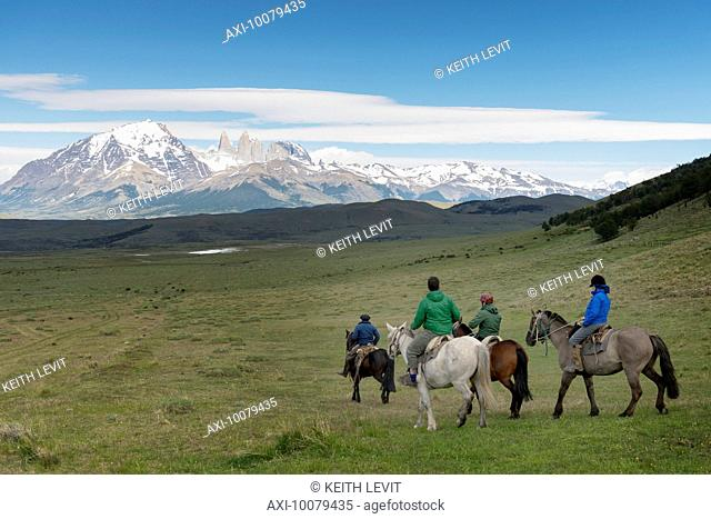 Horseback riding in Torres del Paine National Park; Torres del Paine, Magallanes and Antartica Chilena Region, Chile