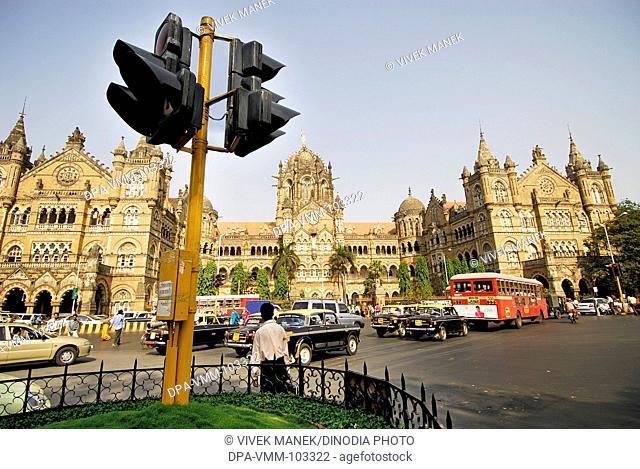 Victoria Terminus (VT) named Chhatrapati Shivaji Terminus Station (CST) with traffic ; Bombay Mumbai ; Maharashtra ; India
