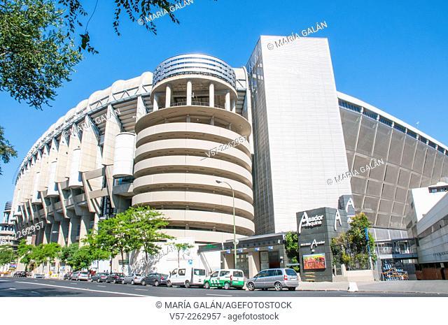Facade of Santiago Bernabeu stadium. Madrid, Spain