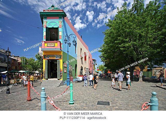 The Caminito of tango lore in the barrio La Boca, Buenos Aires, Argentina