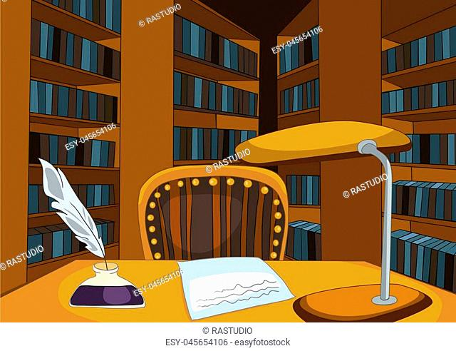 Hand drawn cartoon of old library room interior. Colourful cartoon of retro studying room with desk, lamp and chair. Background of vintage library
