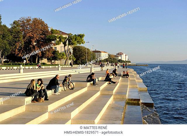 Croatia, Dalmatia, Dalmatian coast, Zadar, Sea organ architectural musical instrument created by Nikola Basic