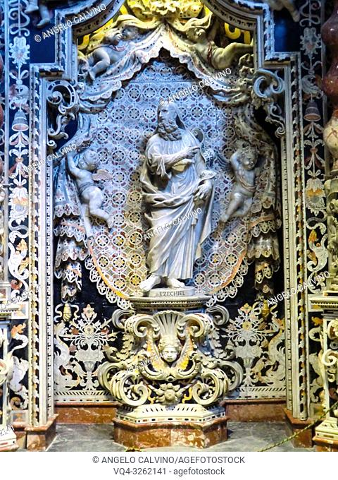 Palermo, Cathedral of Monreale, The cathedral interior of the Cappella Santissimo Crocificco, Sicily. Italy