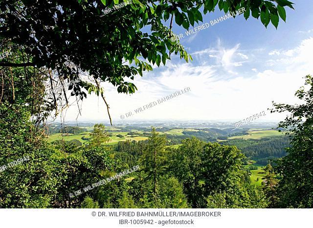 View of the Danube Valley and the Eisenwurzen Mountains from the Klingenberg Castle ruins near St. Thomas am Blasenstein, Muehlviertel, Upper Austria, Europe