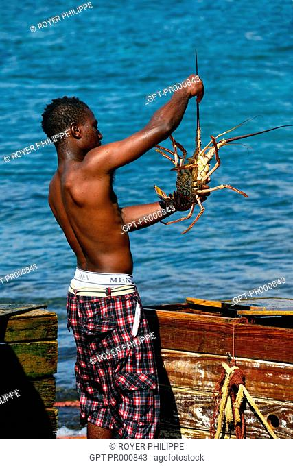 PRAWN FISHER ON BEQUIA ISLAND, SAINT VINCENT AND THE GRENADINES, THE CARIBBEAN