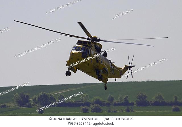 UK Duxford -- May 2012 -- A RAF Sea King rescue helicopter lands at Duxford IWM in Cambridgeshire England -- Picture by Jonathan Mitchell/Lightroom Photos