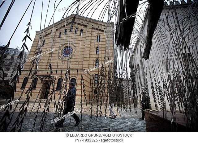 """Outside of the Great Synagogue of Budapest is the """"""""Tree of Life"""""""" Budapest, Pest, Hungary, Europe"""