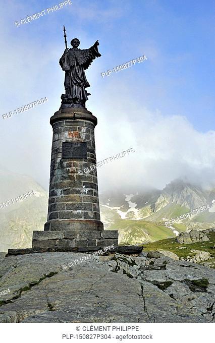 Statue of Saint Bernard at the Great St Bernard Pass / Col du Grand-Saint-Bernard in the Swiss Alps, Switzerland