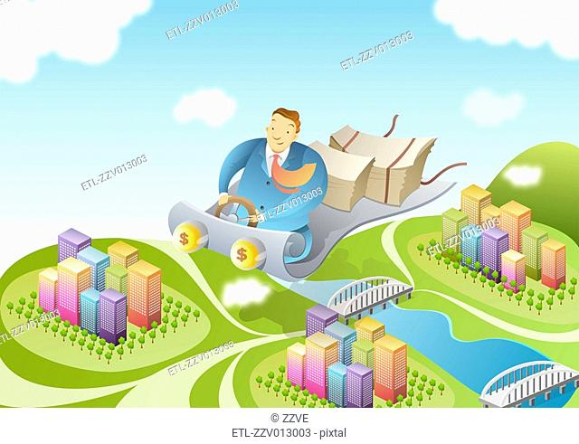 Businessman on flying carpet over city
