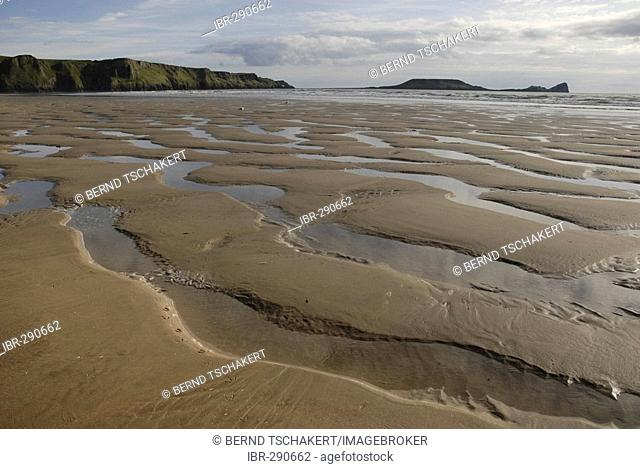 Traces of water in the sand during low tide, Rhossili, Gower Peninsula, South Wales, Great Britain