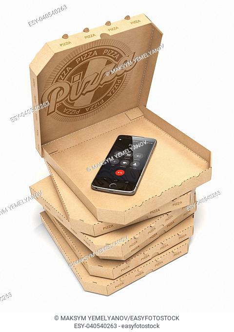 Mobile pizza ordering and delivery concept. Smartphone and pizza boxes isolated on white. 3d illustration