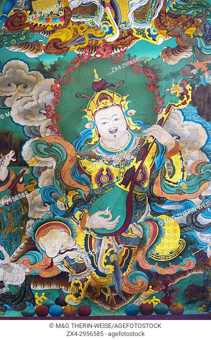 Mural paintings of Tibetan deities, Boudhanath Stupa, Largest Asian Stupa, Unesco World Heritage Site, Kathmandu, Nepal, Asia
