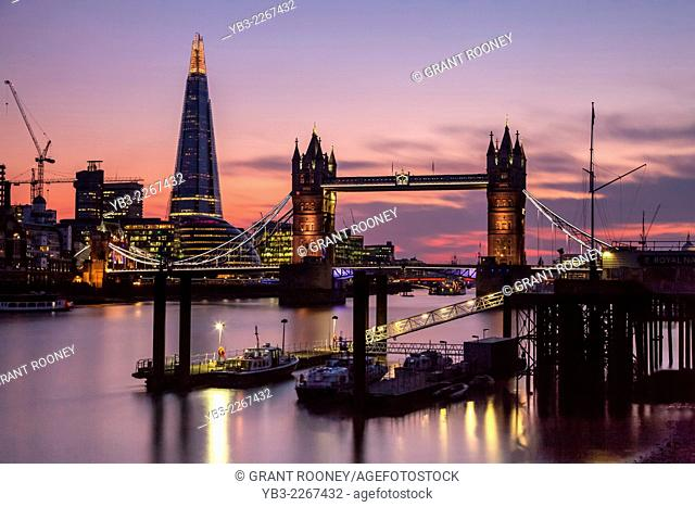 Tower Bridge, The Shard and River Thames, London, England