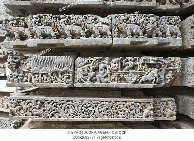 Episode from Ramayana. Hanumana setting the houses of Lanka on fire. Kedareshwara temple, Halebidu, Karnataka, india. carved on the Friezes at the base of...