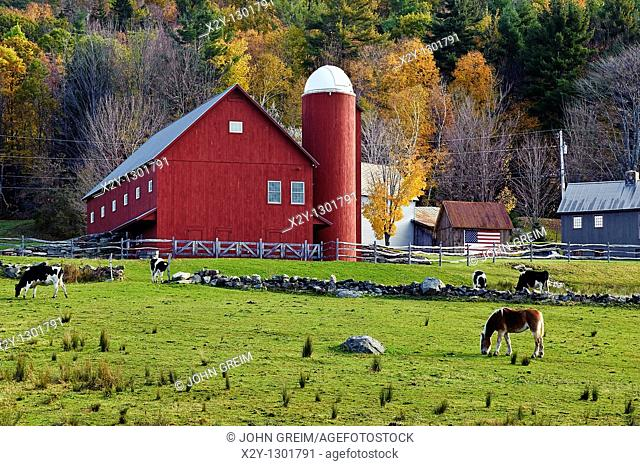 Rustic red barn, Windsor County about 5 miles from the town of Weston, Vermont, VT, USA