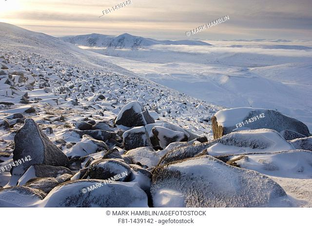 Winter view from Creag Chalamain to Sgor Gaoith, Grampian Mountains, Cairngorms National Park, Scotland, January
