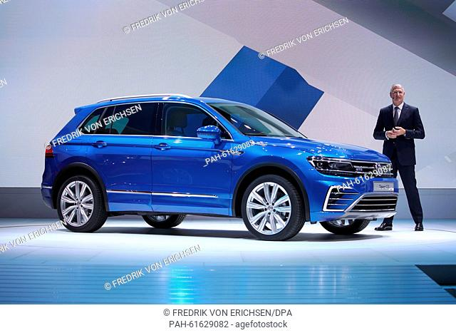 Heinz-Jakob Neusser, Volkswagen executive board member for the development division, presents the new hybrid car Tiguan GTE at the International Motor Show IAA...