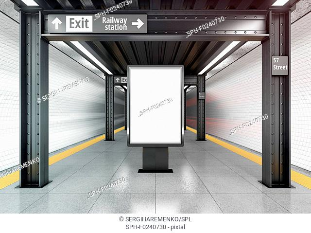 Blank vertical poster billboard on the metro station. 3D illustration