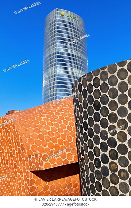 "Angel Garraza, """"Sitios y Lugares"""" sculpture, Iberdrola tower, Bilbao, Bizkaia, Basque Country, Spain, Europe"