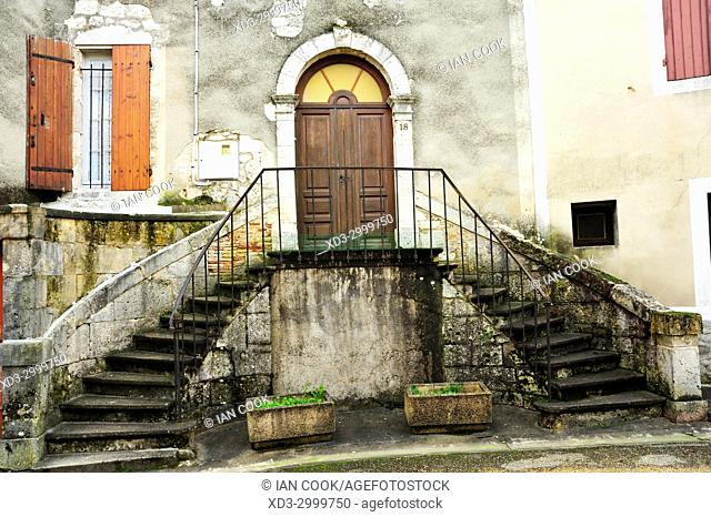 stairway, Issigeac, Dordogne Department, Aquitaine, France
