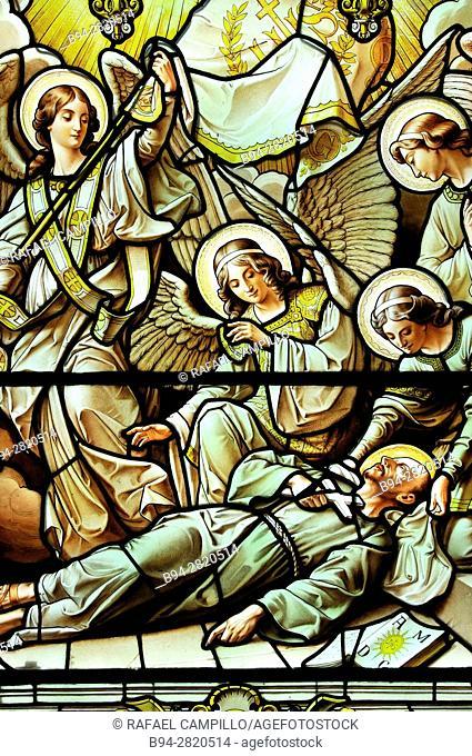 Stained glass. San Ignacio de Loyola. Sanctuary of Loyola or Shrine and Basilica of Loyola, Loyola Basilica in Azpeitia, Azpeitia, Basque Country, Spain