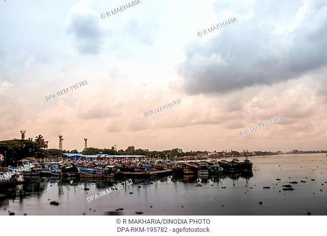 Fishing boats backwaters river, kochi, kerala, india, asia