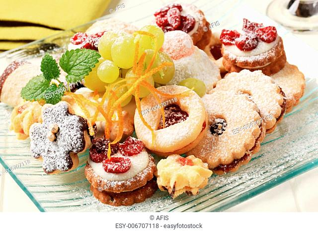 Variety of homemade Christmas cookies on plate
