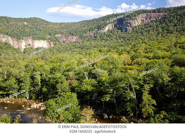 Scenic view of cliff along the Kancamagus Highway in the White Mountains, New Hampshire USA