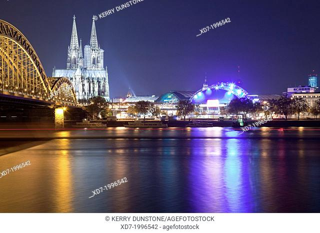 Cologne Cathedral with River Rhine, Hohenzollern Brucke (Bridge) and the Musical Dome, Cologne, Rhine-Westphalia, Germany