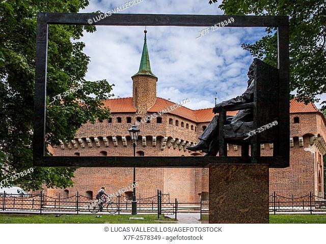 Jan Matejhko sculpture and the Barbican. Krakow. Poland