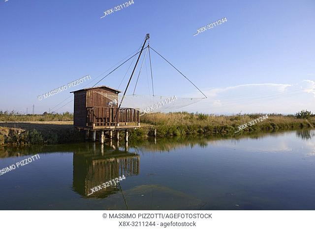 Wooden fishing hous along the Canal in Cervia, Ravenna province. italy
