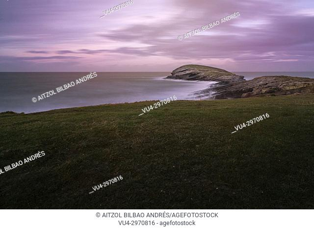 The wale, a small island on the village of Sonabia, cantabria, spain. Long expo landscape