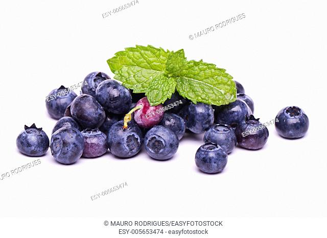 View of a bunch of tasty blueberries (Vaccinium myrtillus) isolated on a white background