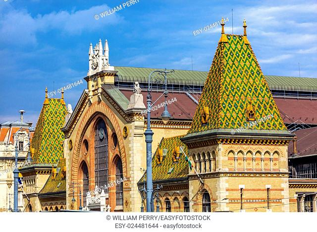 Central Market Hall Budapest Hungary. Designed by Gustav Eiffel in the late 1800s. Old Hungarian market. All types of food