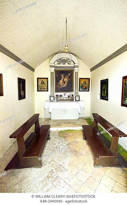 Interior of a small chapel in the town of Cavtat, near Dubrovnik, Croatia