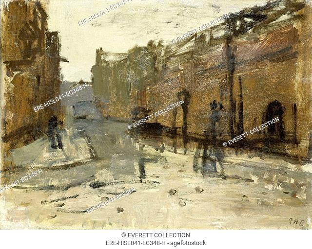 De Baan in Rotterdam, by George Hendrik Breitner, c. 1880-1923, Dutch painting, oil on panel. Abstract study of junction with the Painter Lane