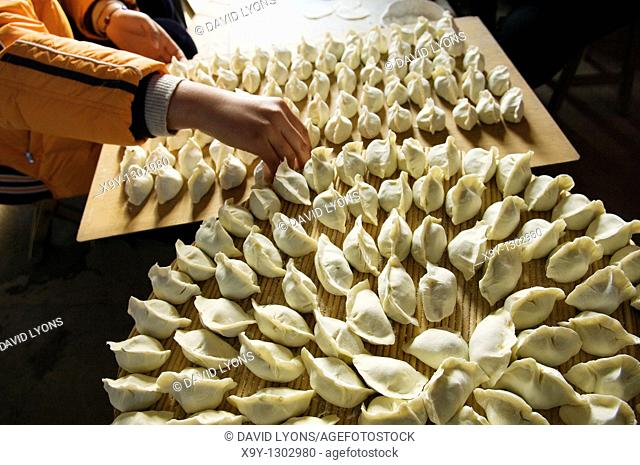 Making traditional dim sum Chinese dumplings in farmhouse kitchen, Shandong Province, China