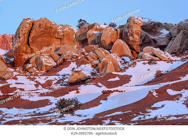 Red rock and receding winter snow, Capitol Reef National Park, Utah, USA