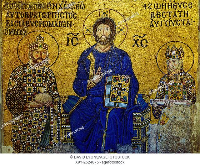 Hagia Sophia, Istanbul, Turkey. The Empress Zoe mosaic dates from 11C. Christ with Constantine IX Monomachus and Empress Zoe