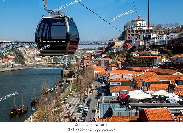 CABLECAR THAT LINKS THE LOWER TOWN OF VILA NOVA DE GAIA TO THE UPPER TOWN, PORTO, PORTUGAL