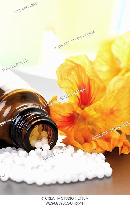Medicinal flask with pills in front of Nasturtium Tropaeolum, close-up