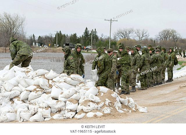 the army arrives to help in a flooded area, st. francois xavier manitoba canada