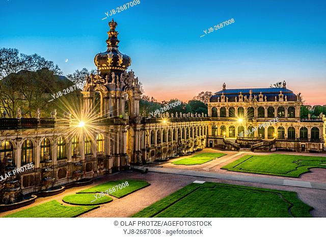 Kronentor(Crown Gate) at Dresden Zwinger Palace at Night, Dresden, Saxony, Germany