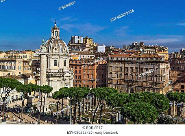 Church of the Most Holy Name of Mary and Trajan's Column at the Trajan Forum, Rome
