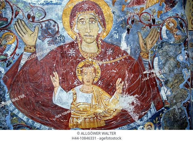 Turkey, Sumela monastery, damages, damaged, Bible scene, picture, Byzantine, christian, Christianity, fresco, frescoes