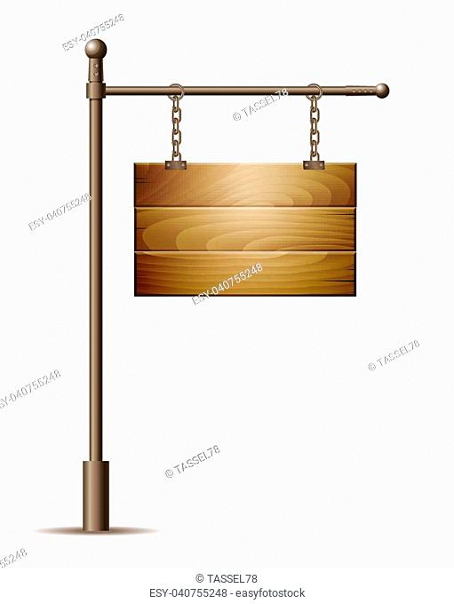 Empty wooden board sign hanging on a chain isolated on white. Vector illustration