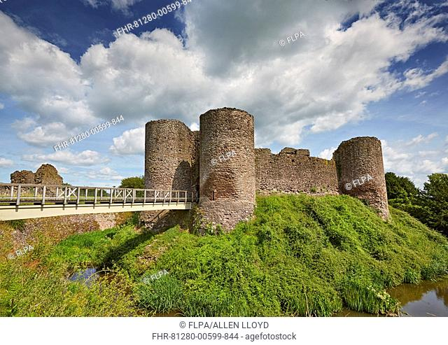 View of medieval castle with moat, White Castle, Monnow Valley, Monmouthshire, South Wales, Wales, July