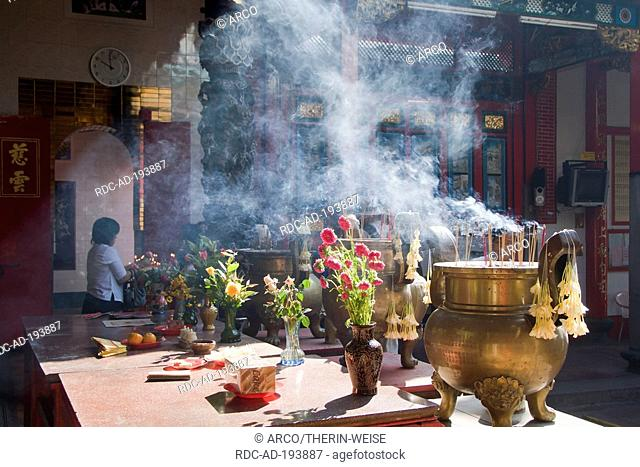 Incense burner, Taoist temple, Yangon, Burma, Myanmar, Rangoon