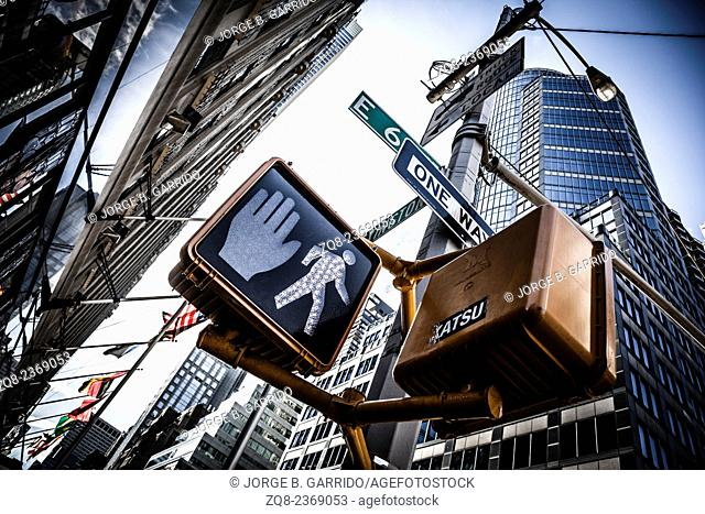 Crosswalk ok sign on a Manhattan Traffic Light - New York City